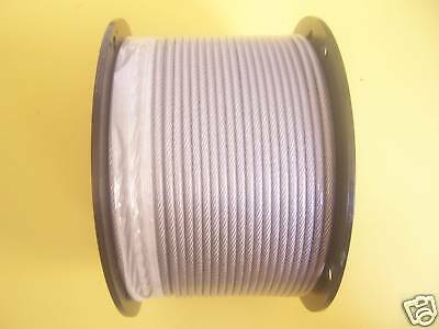 """Vinyl Coated Galvanized Aircraft Cable, 3/16"""" - 1/4"""", 7x19, 500 ft reel"""