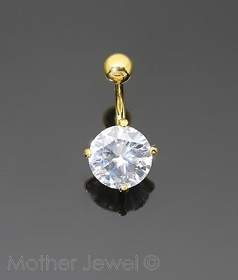 Round Simulated Diamond 18K Yellow Gold Triple Plated Belly Button Navel Ring