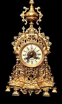 Beautiful Ad Mougin French Antique Gilt Solid Heavy Bronze Clock C.19Th