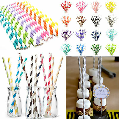 25pcs Paper Drinking Straws Striped Straws for Birthday Wedding Party Decoration