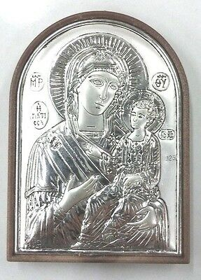 Sterling silver 925 certificated blessed MINI holy virgin Mary of Jerusalem icon