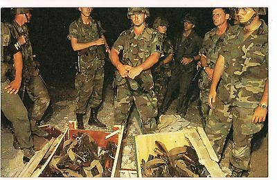 US ARMY MP in GRENADA Invasion WEAPONS and GUNS SEIZED  POSTCARD 1983 Unused