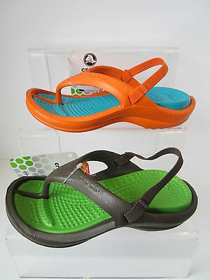 Boys Orange/Green Toe Post Light Weight Crocs Kids Athens