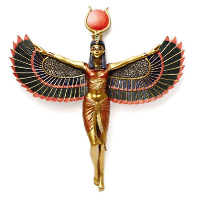 "Open Winged Isis Ancient Egyptian Goddess Mother Magic 12"" Wall Plaque Sculpture"