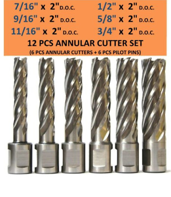 with 8 Pc 9//16 to 1 H.S.S Annular Cutters Plus 8 Pcs Pilot Pin