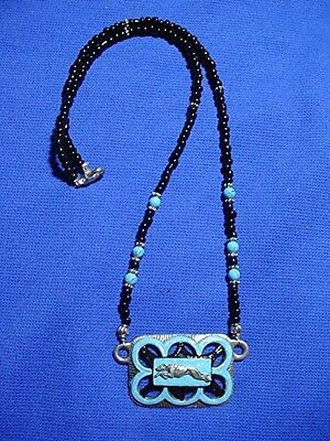 Whippet Greyhound beaded necklace Turquoise beads OOAK by Cindy A. Conter #18