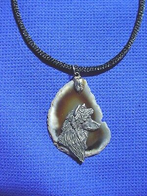 Puff Chinese Crested on agate necklace by Cindy A. Conter OOAK C6  Dog Jewelry