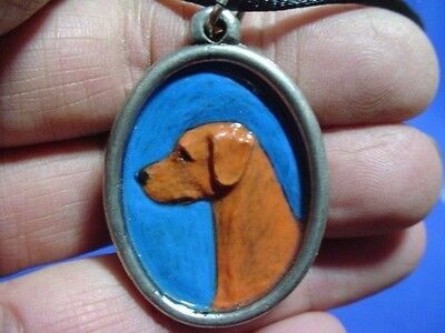 Pewter Cameo Rhodesian Ridgeback necklace Hand painted Sighthound Dog Jewelry B