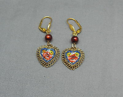 Vintage Drop Dangle Floral Heart Victorian Style Micro Mosaic Earrings