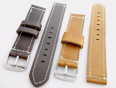 Men's Leather 20 mm Watch Replacement Wrist Band Strap White Stitch Brown,Tan