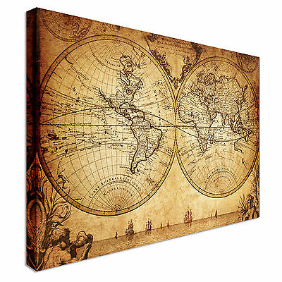 vintage map of the world 1733 Printed Great Value Canvas Wall Art Pictures