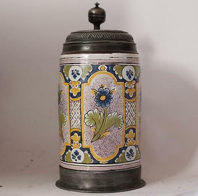 Early Antique German Faience Beer Stein Thueringen Factory c. 1779