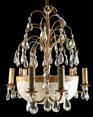 Ant French solid bronze chandelier Original gilt bronzes centerpiece crystal