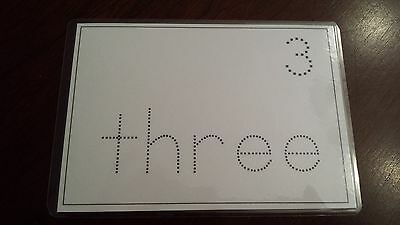 Numbers-Word Trace Erasable Laminate w/ Round Corners NEW -Good Quality