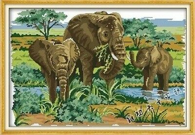 Happy Forever Cross Stitch,The animals, The elephant foraging. Shipping is Free