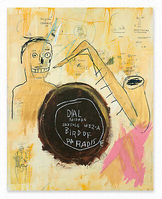 Jean-Michel Basquiat   Bird of paradise  125 x100 cm  STAMPA TELA QUADRI CANVAS