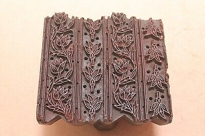 Vintage Traditional Hand Carved Wooden Textile/Fabric/wallpaper Print Block #137