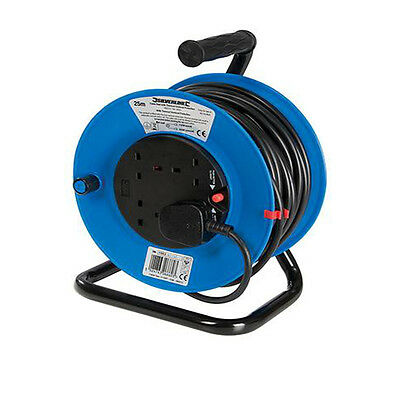 240V 25m Extension Cable Reel 4 Way Plug Socket Site Garden Mains 13 amp Lead