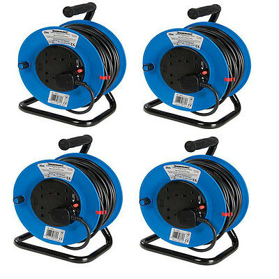 (Pack of 4) 240V 25m Extension Cable Reel 4 Way Plug Socket Mains 13 amp Lead