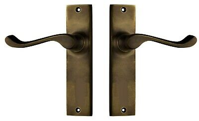 DOOR LEVER-FREEMANTLE-ANTIQUE BRASS-VICTORIAN STYLE-NARROW PLATE-vintage-NEW