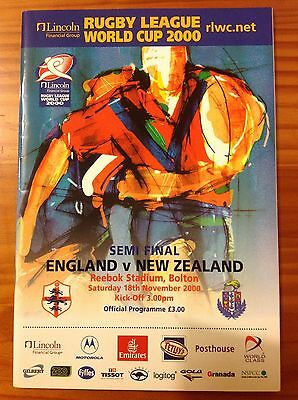 England v New Zealand World Cup 2000 Semi-Final Rugby League Programme
