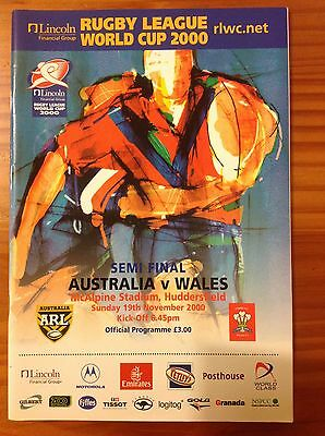 Australia v Wales World Cup 2000 Semi-Final Rugby League Programme