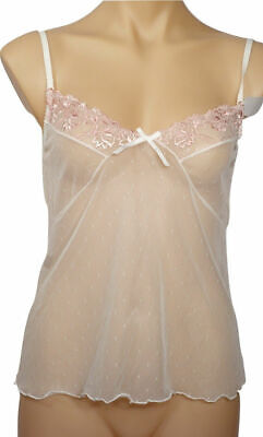 Cream & Pink Embroidered Camisole Chemise | Size 10,12,14,16 | #248