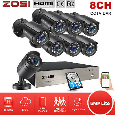 ZOSI 8CH 1080N TVI DVR 1500TVL CCTV Outdoor Home Security Camera System 1TB