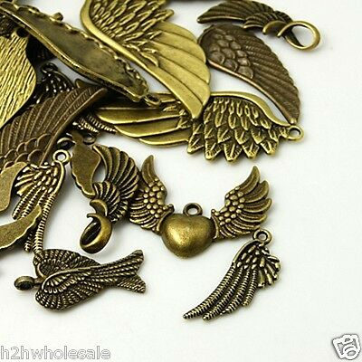 50g Mixed Design Antique Bronze Angel Wing Charms Pendants FREE 1st CLASS P&P UK