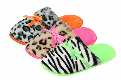 4KIDZ Girls Animal Print Slippers Mules Faux Fur Neon Bright Bow Childrens Kids