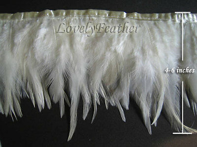 Hackle feather fringe of ivory color 2 meter trim