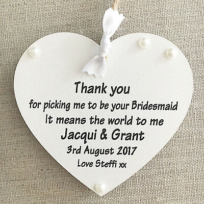 Thank you for picking me from Bridesmaid Personalised Heart Wedding W213