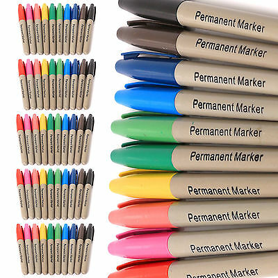 50 x BRANDED ASSORTED COLOUR PERMANENT MARKER PENS FINE POINT FELT TIP