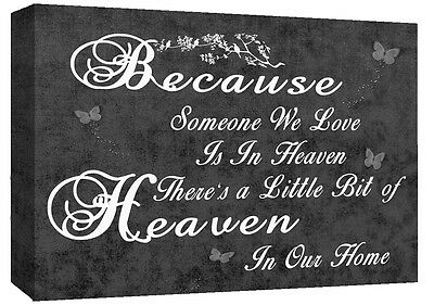 HEAVEN QUOTE - Life - Black & White Canvas Wall Art Picture Print- ALL SIZES