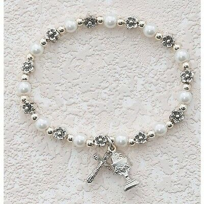 17cm Catholic First Holy Communion Childrens Girls Rosary Bracelet White Pearl S