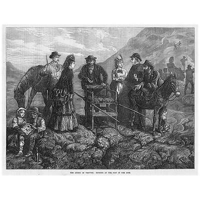 MOUNT VESUVIUS Start of an Ascent by Victorian Tourists - Antique Print 1872