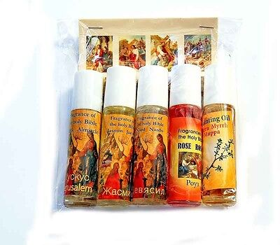 5 Roll-On Blessed Certificated Anointing Oil Set Lots From The Nativity Church
