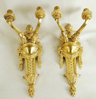 Antique excellent pair of French sconces Chiseled solid bronze gold