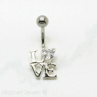 Real 925 Sterling Silver Love Word Heart Surgical Steel Navel Belly Curved Ring