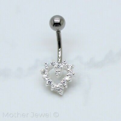 Real 925 Sterling Silver Heart Simulated Diamond Surgical Steel Navel Belly Ring