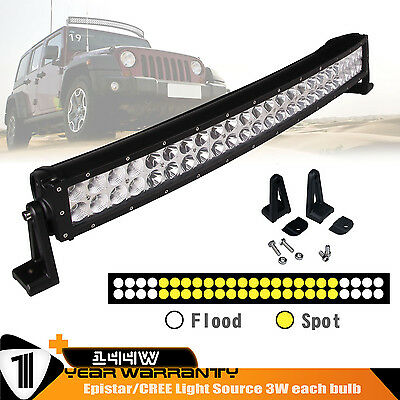 26Inch 144W Curved LED Light Bar Work Lamp Flood Spot Combo Jeep Offroad Chevy