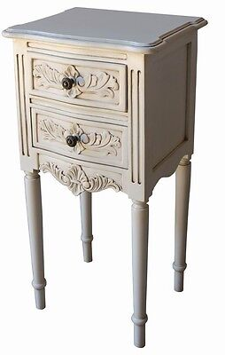 French Rococo Bedside Table / Cabinet Antique White Solid Mahogany BS039P