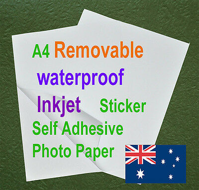 20sheets A4 Waterproof Removable Sticker Adhesive Matte Inkjet Polymeric Paper