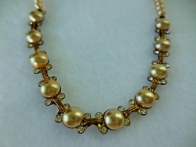 Vintage Faux Pearl Choker Necklace 15 inch