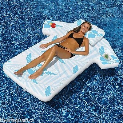 Swimline Cabana Shirt Tropical Float Mattress Pool Cup Ice Suntan Pillow 90604