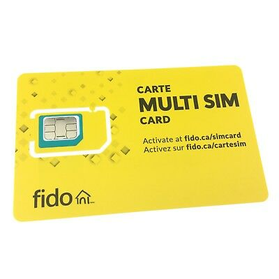 New Fido Triple Format Nano Micro Regular Standard Multi Sim Card 3 in 1 LTE