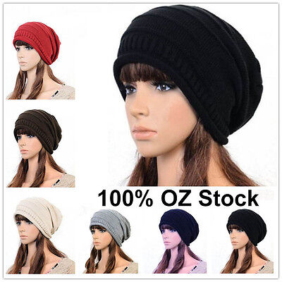 Unisex Women Men Winter Warm Ski Knitted Crochet Baggy Beanie Hat Cap Beret