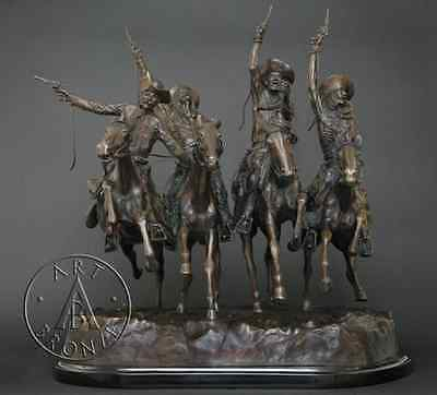 """Frederic Remington """"Coming Through the Rye"""" bronze sculpture, finest USA casting"""