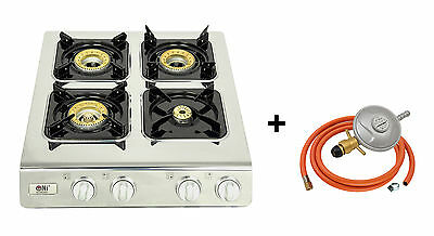 NEW NGB4 Gas Stove Cooker 4 Burners Portable Camping Outdoor LPG 11.3kW WOK