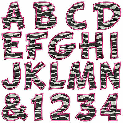 Pink Zebra Print Alphabet & Numbers * Machine Embroidery Patterns 37 x 2 sizes